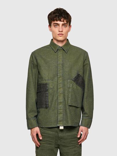 Diesel - D-CORU-SP, Verde Militare - Camicie in Denim - Image 1