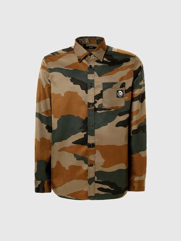 Camicia in twill con stampa camouflage