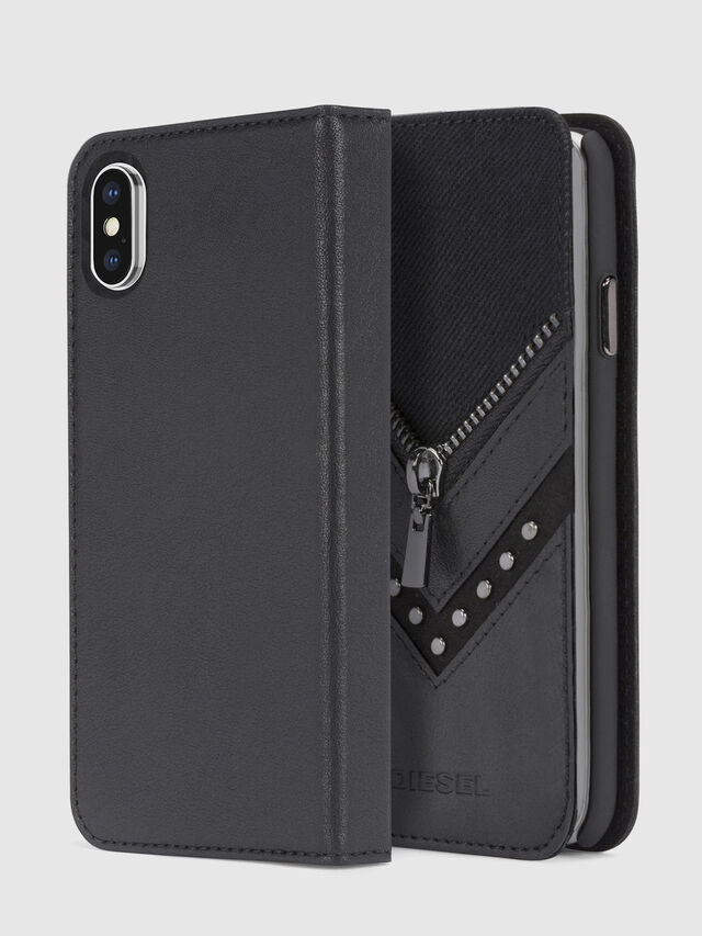 Diesel - BLACK DENIM/STUD/ZIPPER IPHONE X FOLIO, Nero - Cover a libro - Image 1