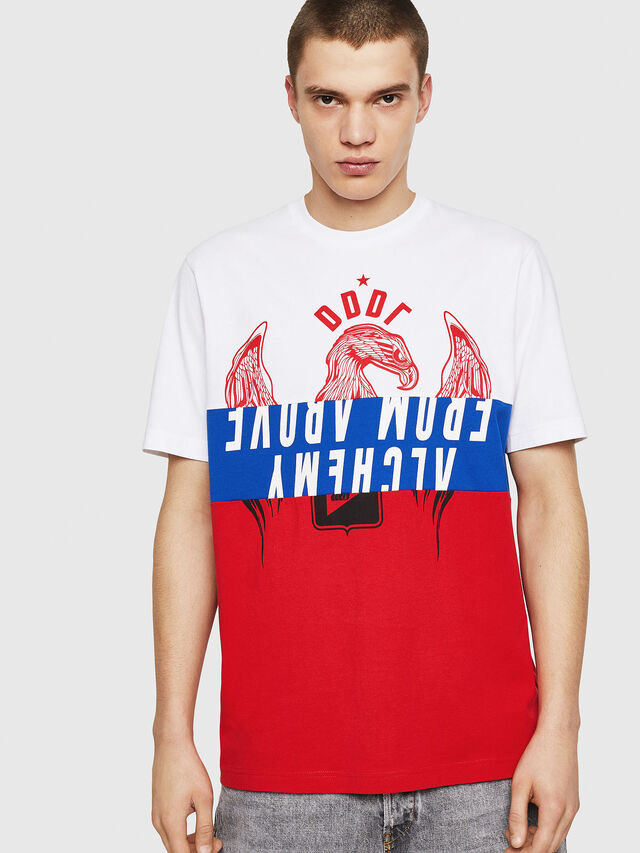 Diesel - T-JUST-A1, Bianco/Rosso/Blu - T-Shirts - Image 1