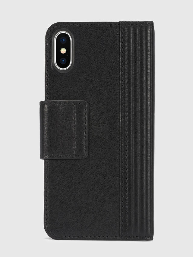 Diesel - BLACK LINED LEATHER IPHONE X FOLIO, Nero - Cover a libro - Image 5
