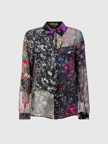 Camicia patchwork con stampe