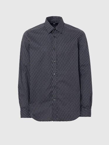 Camicia in popeline con micro stampa geometrica