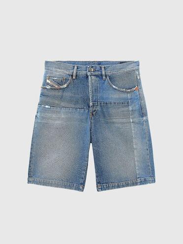 Shorts straight in denim effetto vintage