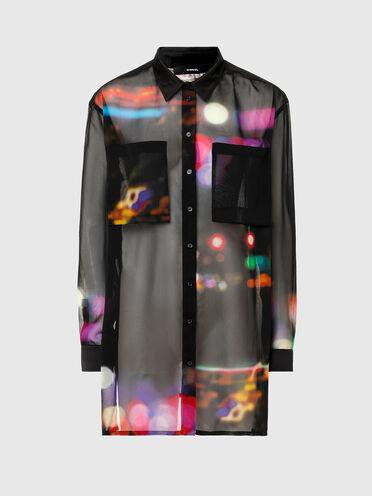Camicia trasparente con stampa e carré apribile