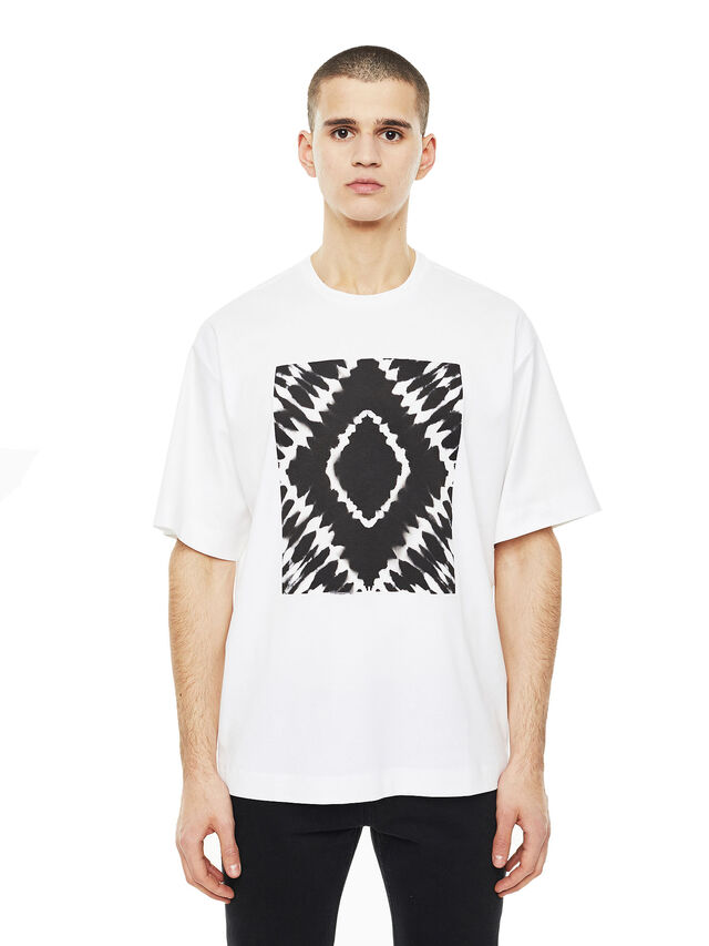 Diesel - TEORIA-TIEDYESQUARE, Bianco - T-Shirts - Image 1