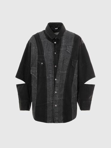Camicia in denim patchwork