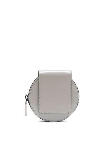 Portafoglio/mini borsa rotondo in pelle lucida