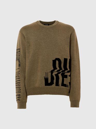 Pullover con logo in jacquard