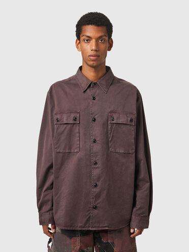 Camicia tinta in capo in twill di cotone