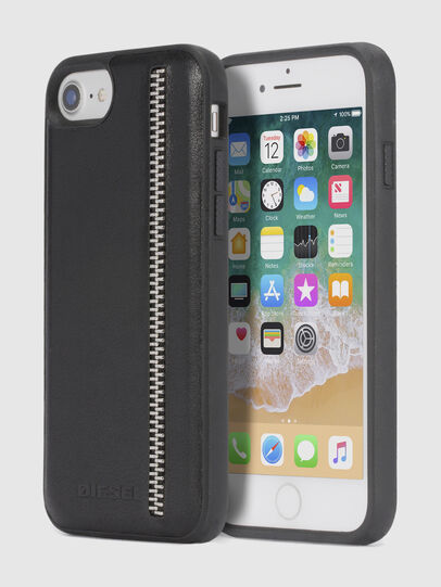 Diesel - ZIP BLACK LEATHER IPHONE 8 PLUS/7 PLUS/6s PLUS/6 PLUS CASE, Nero - Cover - Image 1