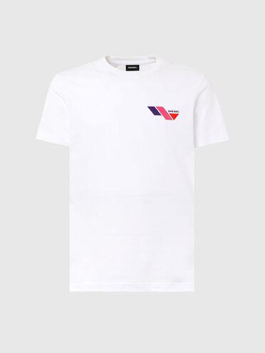 T-shirt con stampa del logo colour block