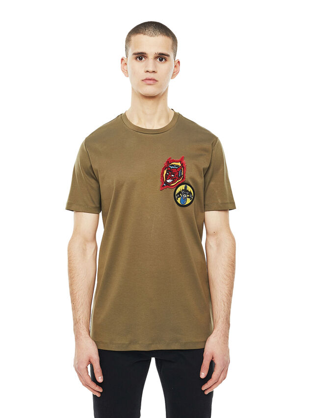 Diesel - TY-PATCHES, Verde Militare - T-Shirts - Image 1