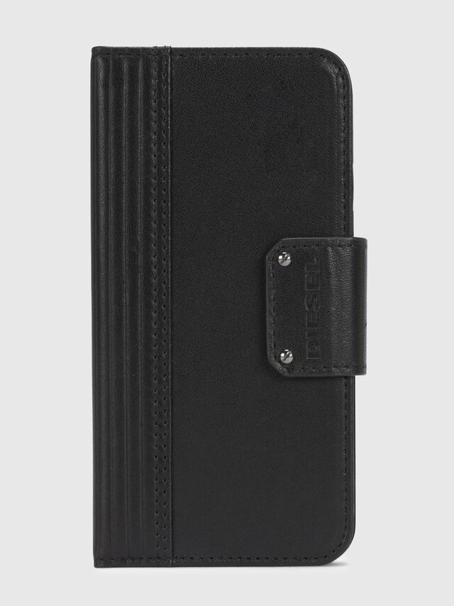 Diesel - BLACK LINED LEATHER IPHONE X FOLIO, Nero - Cover a libro - Image 2