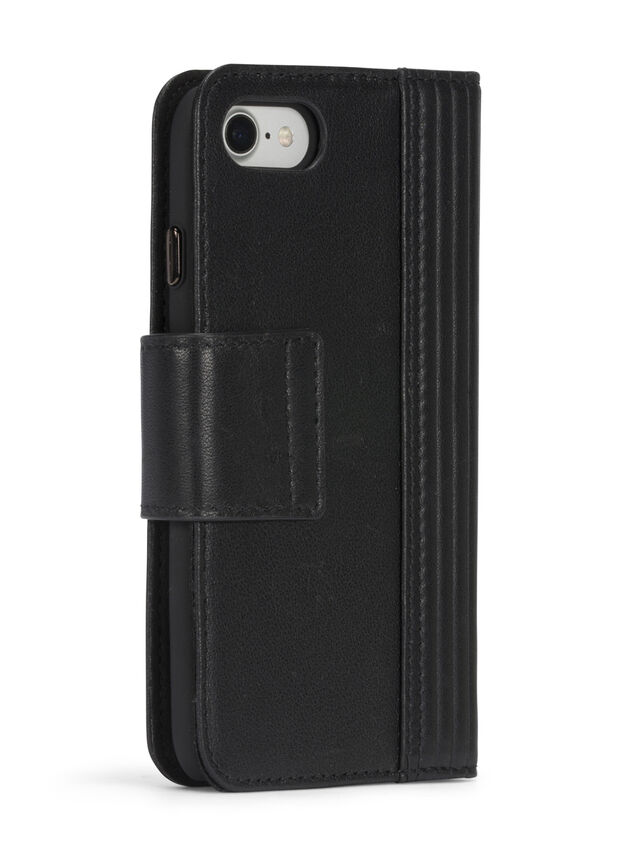 Diesel - BLACK LINED LEATHER IPHONE 8 PLUS/7 PLUS FOLIO, Nero - Cover a libro - Image 7