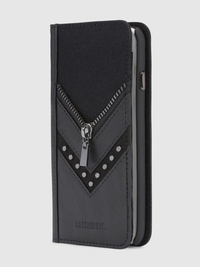 Diesel - BLACK DENIM/STUD/ZIPPER IPHONE 8/7 FOLIO, Nero - Cover a libro - Image 1