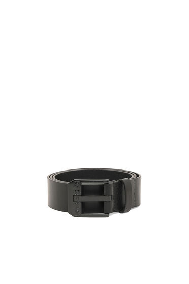 Cintura in pelle con finitura lucida effetto texture