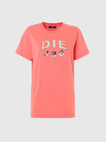 T-shirt con stampa DIE-SEL metallizzata