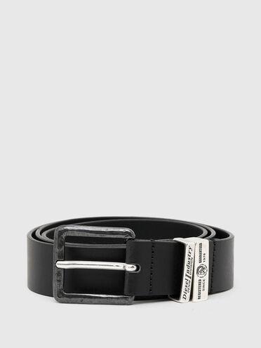 Cintura in pelle resistente con due passanti in metallo