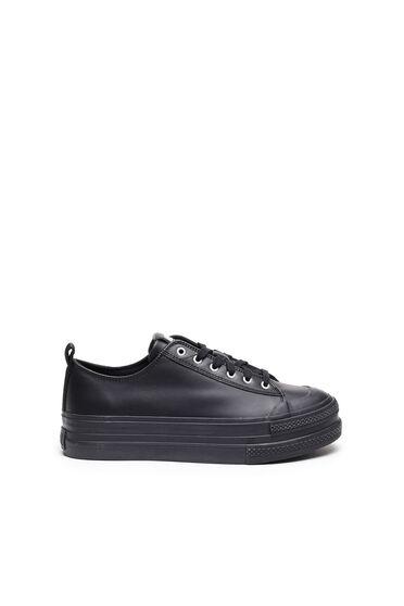 Sneaker in pelle con suola doppia