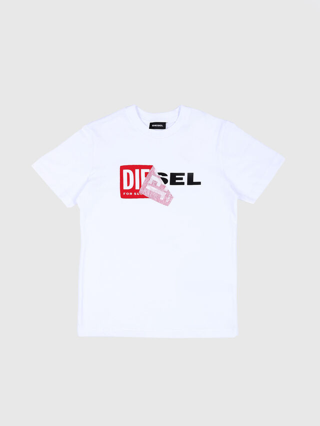 Diesel - TDIEGO, Bianco/Rosso - T-shirts e Tops - Image 1