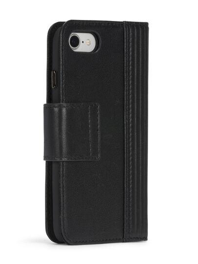 Diesel - BLACK LINED LEATHER IPHONE 8 PLUS/7 PLUS FOLIO, Nero - Cover a libro - Image 7