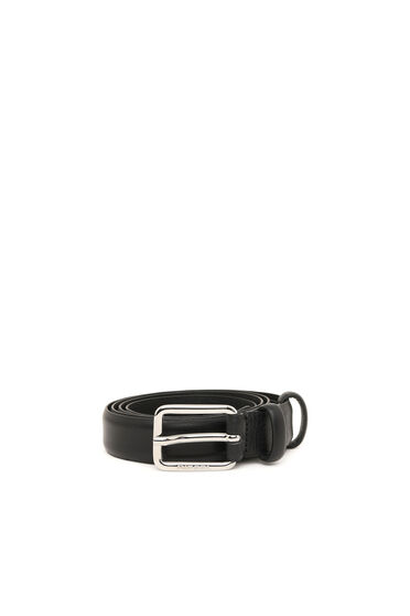 Cintura bassa in pelle con fibbia in metallo lucido con logo