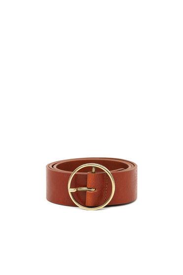 Cintura in pelle con fibbia rotonda con logo