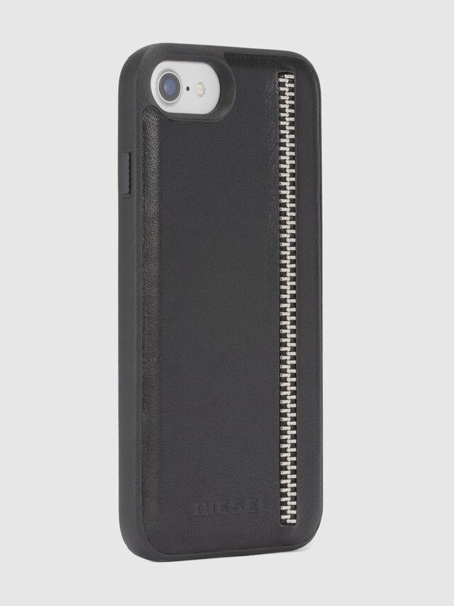 ZIP BLACK LEATHER IPHONE 8/7/6s/6 CASE, Nero