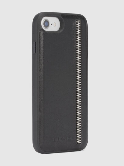 Diesel - ZIP BLACK LEATHER IPHONE 8 PLUS/7 PLUS/6s PLUS/6 PLUS CASE, Nero - Cover - Image 5