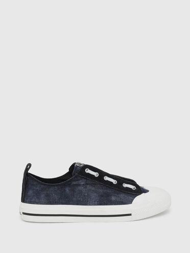 Sneaker basse in denim e pelle scamosciata