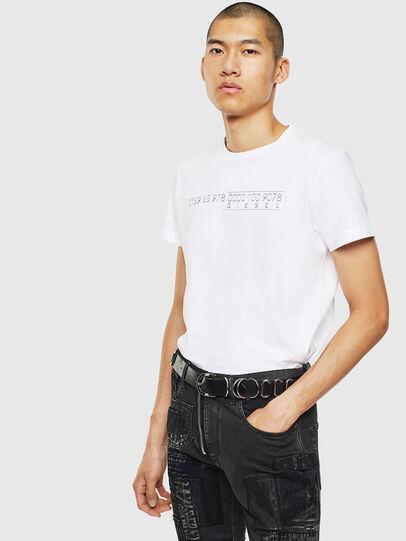 Diesel - T-DIEGO-SLITS-J6, Bianco - T-Shirts - Image 4