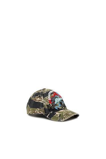 Berretto da baseball con stampa camouflage-tigrata
