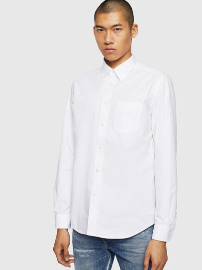 Diesel - S-MOI-R-BW, Bianco - Camicie - Image 1