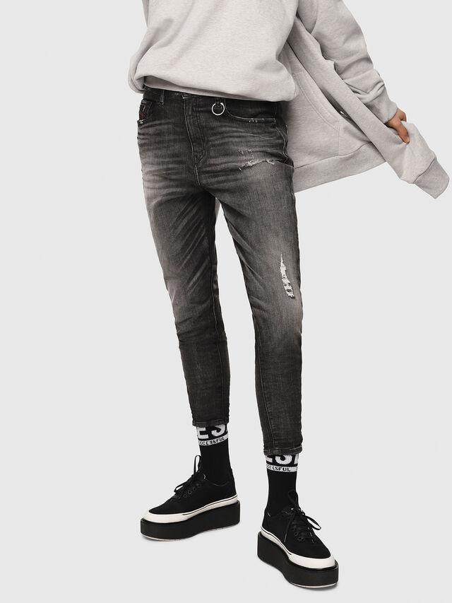 Diesel - Candys JoggJeans 0077S, Nero/Grigio scuro - Jeans - Image 1