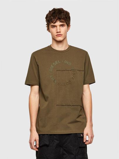 Diesel - T-JUSTEMB, Verde Militare - T-Shirts - Image 1