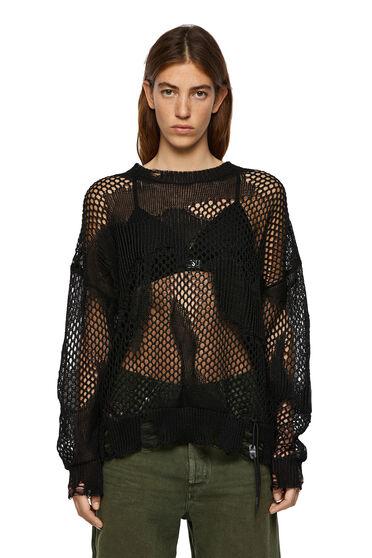 Pullover in maglia traforata con dettagli destroyed