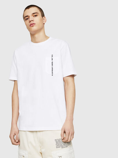 Diesel - T-JUST-POCKET-COPY, Bianco - T-Shirts - Image 1