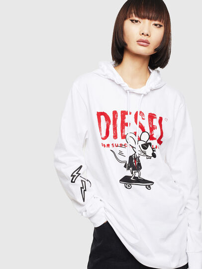 Diesel - CL-T-JUST-LS-HOOD, Bianco - T-Shirts - Image 2