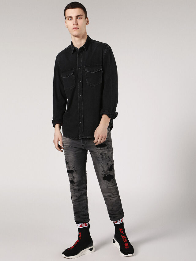 Diesel - D-ROOKE, Nero Jeans - Camicie in Denim - Image 4