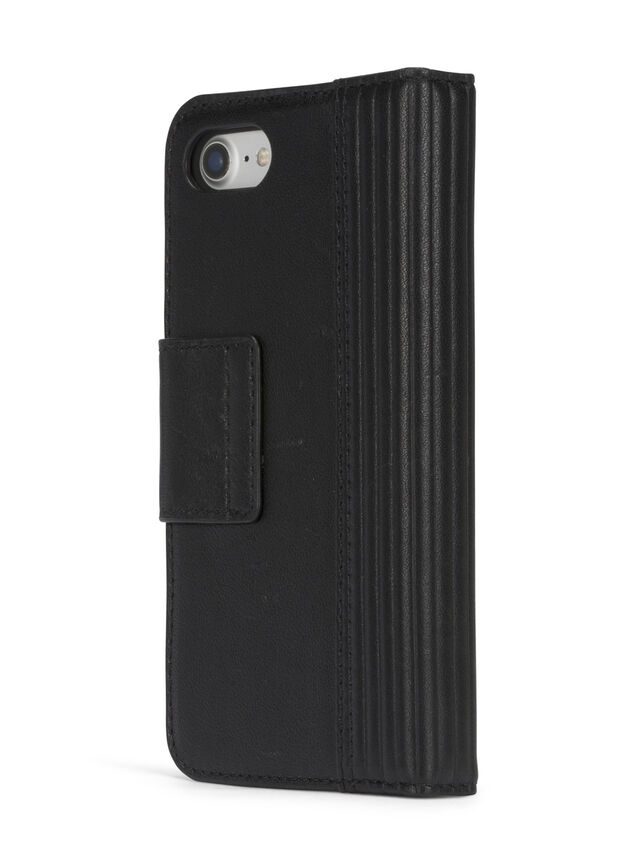 Diesel - BLACK LINED LEATHER IPHONE 8 PLUS/7 PLUS FOLIO, Nero - Cover a libro - Image 6