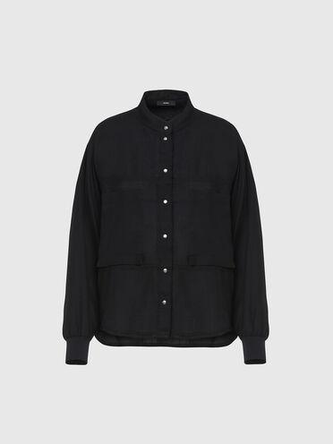 Camicia fluida con dettagli lavorati a maglia