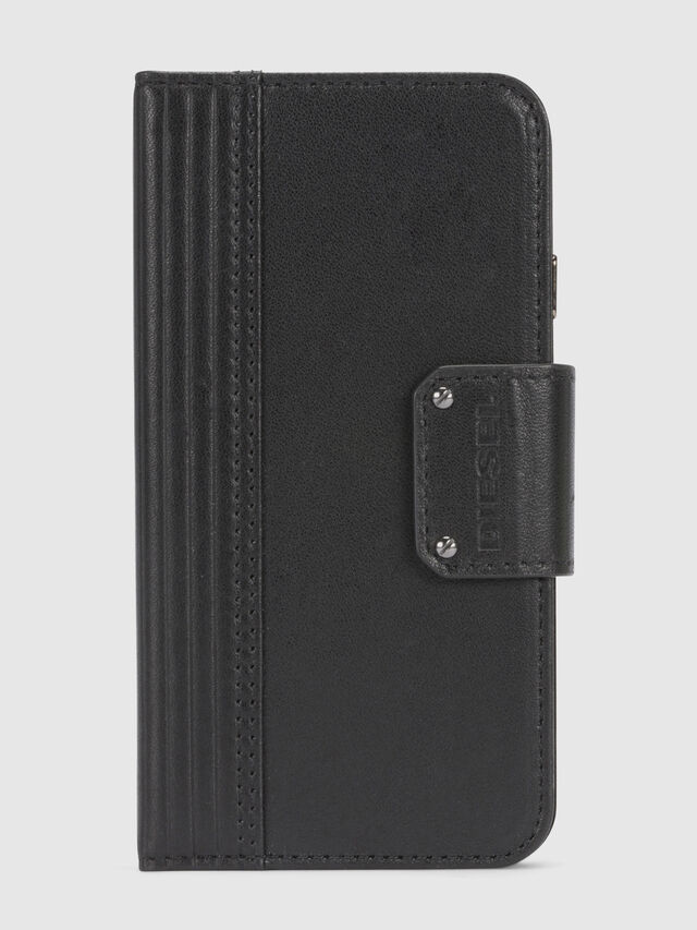 Diesel BLACK LINED LEATHER IPHONE 8/7 FOLIO, Nero - Cover a libro - Image 3