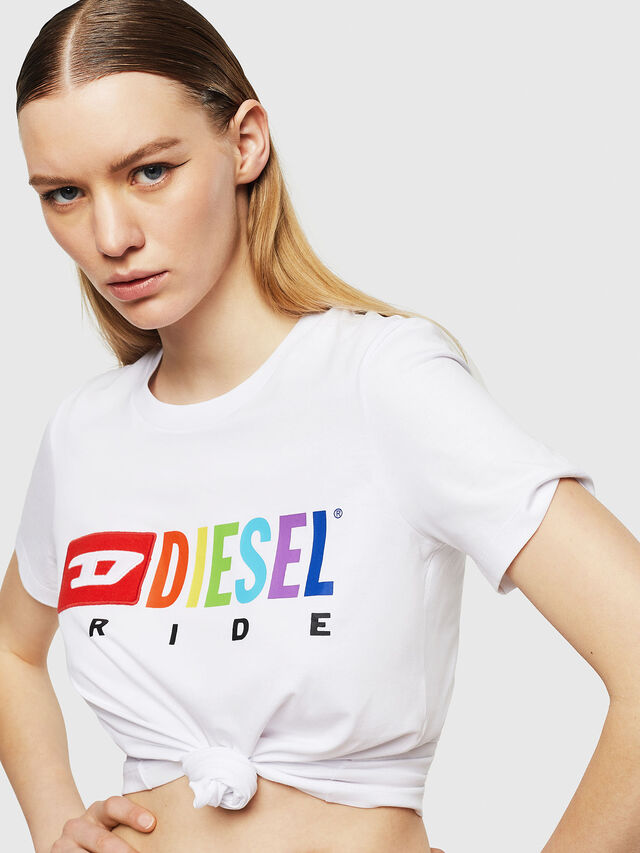 Diesel - UFTEE-SILY-INT, Bianco - T-Shirts - Image 3
