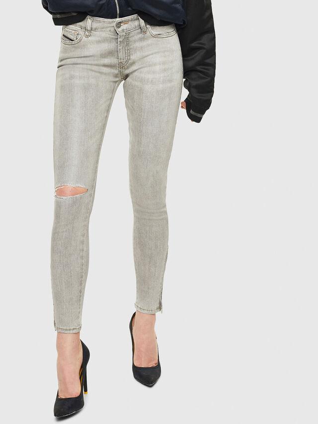 Diesel - Slandy Zip 086AE, Grigio Chiaro - Jeans - Image 1