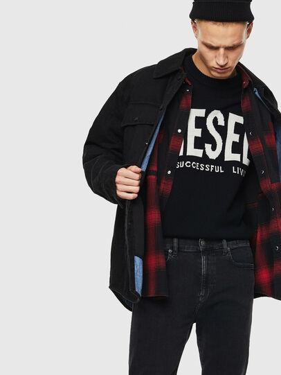 Diesel - D-WELLES, Nero/Rosso - Camicie in Denim - Image 3