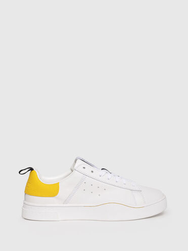 Sneaker in pelle con linguetta con logo