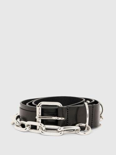Cintura in pelle con accessori intercambiabili
