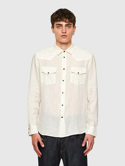 Diesel - S-EAST-LONG-LIN, Bianco - Camicie - Image 1