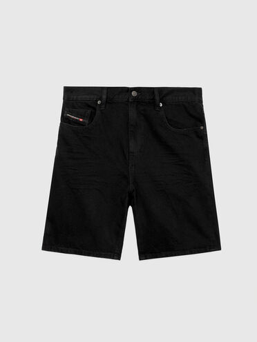 Shorts slim fit in denim 100% cotone a tinta unita